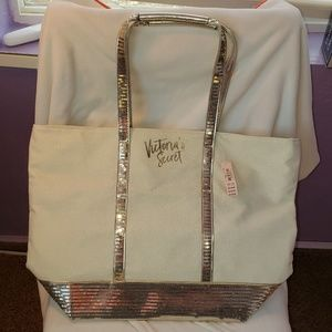 Victoria's Secret gold sequin tote